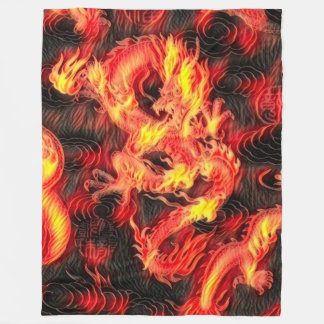 Most Popular Legendary Chinese Fire Dragon Fantasy Fleece Blanket
