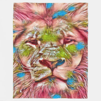 Most Popular Lion Dragon Watercolor Art Fleece Blanket