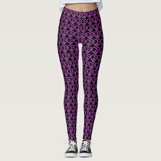 Most Popular Love & Peace Sign Symbol Pattern Leggings