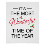 Most Wonderful Time Christmas Art Posters