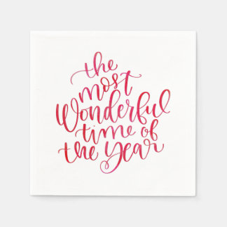 Most Wonderful Time Cute Red Watercolor Script Disposable Napkin