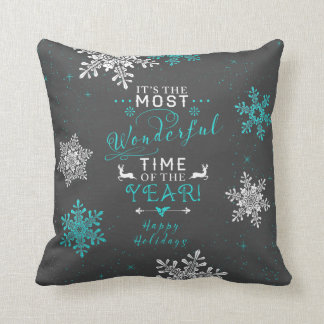 Most Wonderful Time  Grey Gray Turquoise Christmas Throw Pillow