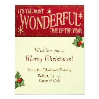 "Most Wonderful Time Holiday Card 4.25"" X 5.5"" Invitation Card"