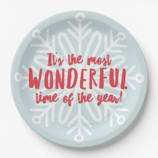 Most Wonderful Time Holiday Party Plate 9 Inch Paper Plate