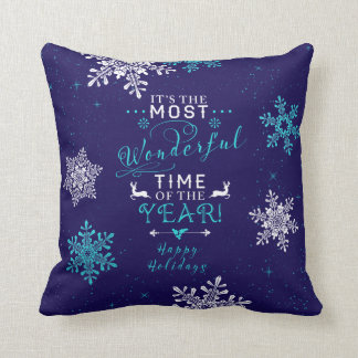 Most Wonderful Time Navy Turquoise Christmas Throw Pillow