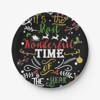 Most Wonderful Time of the Year Christmas Holiday Paper Plate