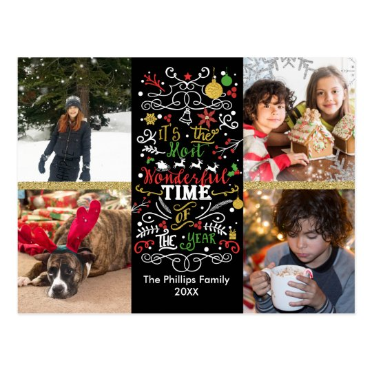 Most Wonderful Time of the Year Christmas Photo Postcard