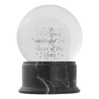 Most Wonderful Time of the Year Silver Typography Snow Globe