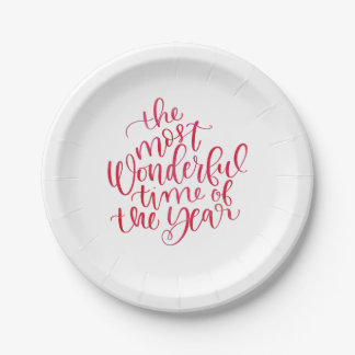 Most Wonderful Time Trendy Red Watercolor Script Paper Plate