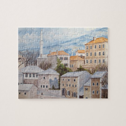 Mostar, Bosnia - Acrylic Townscape Painting Jigsaw Puzzle