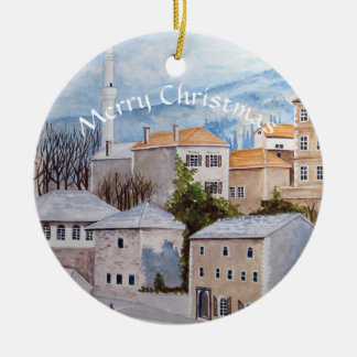 Mostar Bosnia Townscape Painting Ceramic Ornament