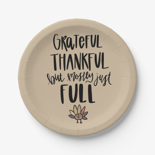 Mostly Just Full Thanksgiving Plate. 7 Inch Paper Plate