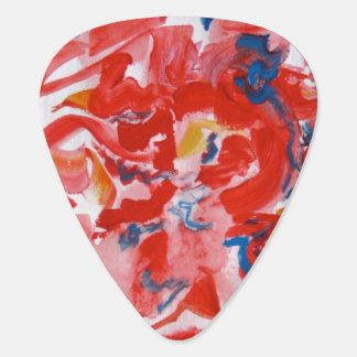 Mostly Red-Hand Painted Abstract Brushstrokes Guitar Pick