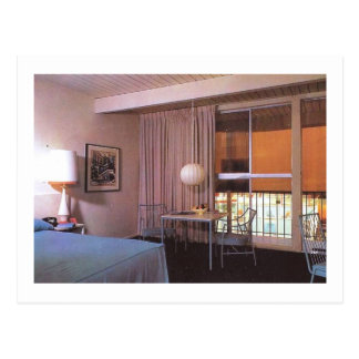 Motel Room Interior Retro Post Card