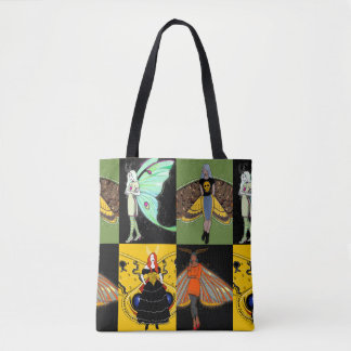 Moth fairies fairy print tote bag