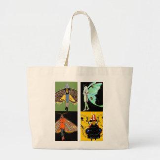 Moth fairies jumbo canvas tote bag