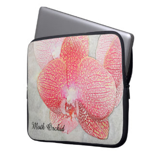 Moth Orchid Red Flowers Color Pencil Rendition Laptop Sleeve