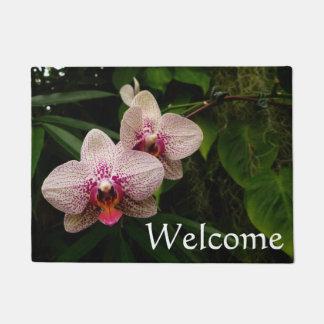 Moth Orchid Red Flowers Doormat