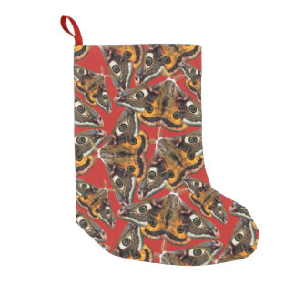 Moth pattern small christmas stocking