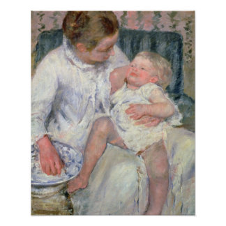 Mother about to Wash her Sleepy Child, 1880 (oil o Poster