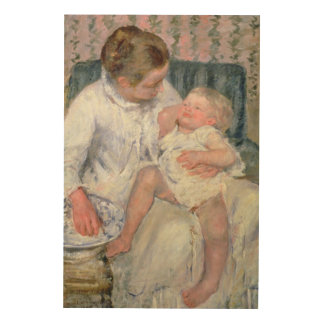 Mother about to Wash her Sleepy Child, 1880 (oil o Wood Canvases