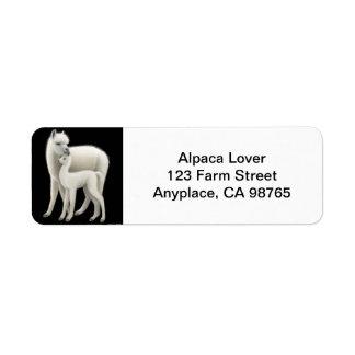 Mother Alpaca and Cria Love Return Address Label