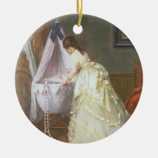 Mother and Baby, 1869 (oil on panel) Round Ceramic Ornament
