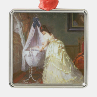 Mother and Baby, 1869 (oil on panel) Silver-Colored Square Ornament