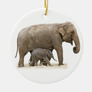 Mother and Baby Asian Elephants Ceramic Ornament