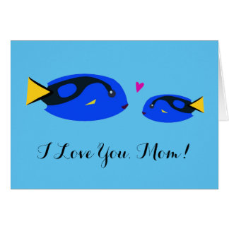 Mother and Baby Blue Tang Fish Kissing Pink Heart Card
