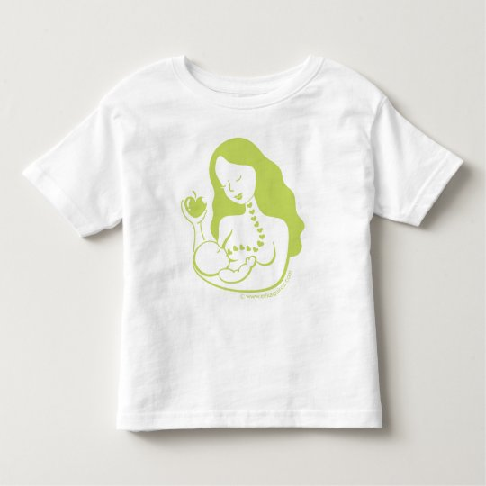 Mother and Baby Breast Feeding in Green Toddler T-shirt