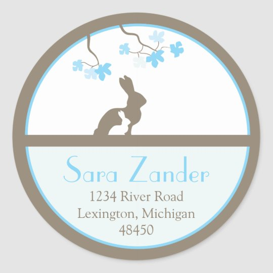 Mother and Baby Bunny Address Label