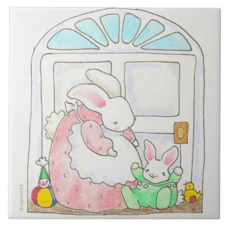 Mother and baby bunny tile