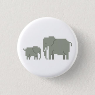 Mother And Baby Elephant Pixel Art Button