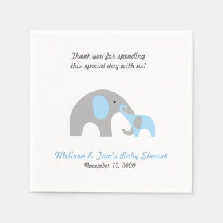 Mother and Baby Elephant Shower napkins BLUE GREY Paper Napkins