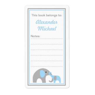 Mother and Baby Elephants Bookplate book labels