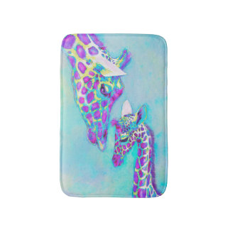 mother and baby giraffe- purple blue and yellow bath mat