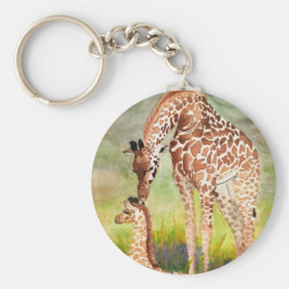 Mother and Baby Giraffes Keychain
