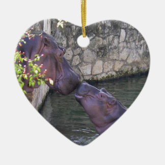 Mother and Baby Hippo Greeting Ceramic Heart Ornament