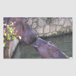 Mother and Baby Hippo Greeting Sticker