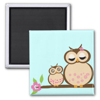 Mother and baby owl magnet