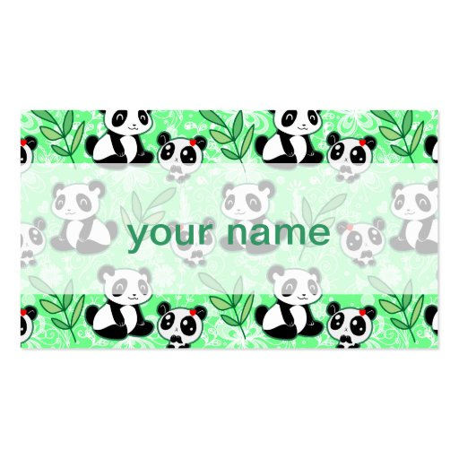 Mother and Baby Panda Green Pattern Business Cards