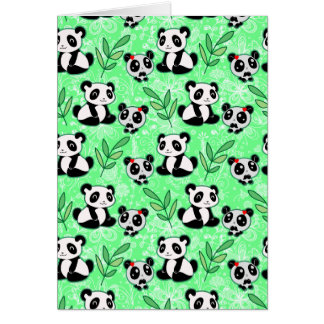 Mother and Baby Panda Green Pattern Card