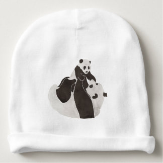 Mother and baby panda playing baby beanie