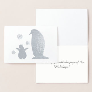 Mother and Baby Penguin at Christimas in the Snow Foil Card