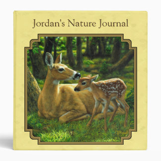 Mother and Baby Whitetail Deer Yellow Binders