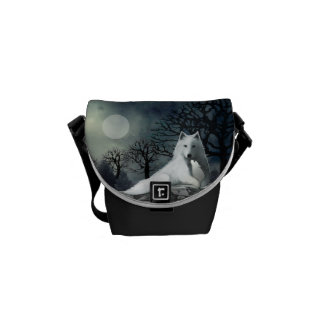 Mother and Baby Wolf Snuggle in the Moonlight Bag Messenger Bags