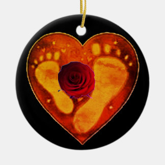 Mother and Baby's Footprints Ceramic Ornament