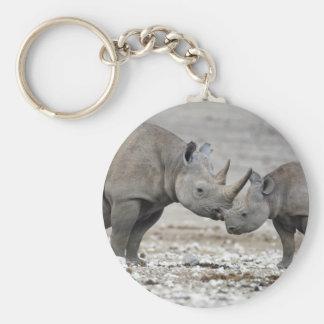 Mother and Calf Black Rhinoceros Diceros Bicornis Keychain