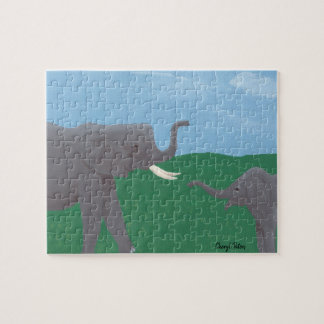 Mother and Child Baby Elephants Field Puzzles
